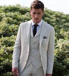 $enCountryForm.capitalKeyWord Canada - Custom Latest Coat Pant Ivory Linen Summer Beach Men Suits 2018 Slim Fit 3 Piece Tuxedo Groom Suits Masculino(Jacket+Pant+Vest)