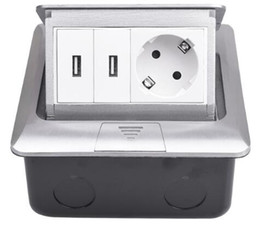 Power Socket Eu Australia - All Aluminum Silver Panel Pop Up Floor Socket 16A Russia Spain EU Standard Power Outlet With Dual USB Charge Port