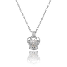 $enCountryForm.capitalKeyWord NZ - Fashion Jewelry Boutique Crown Designed Costume Jewelry Silver Color Pearl Cage Pendant