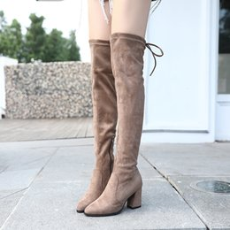 Knee High Shoe Laces Australia - 2018 New Flock Leather Women Over The Knee Boots Lace Up Sexy High Heels Women Shoes Lace Up Winter Boots Warm Size 34-39 4201