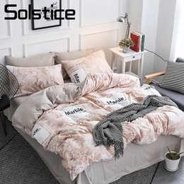 marble roses 2019 - Solstice Home Textile Beige Marble Texture Bedding Set Teen Adult Boy Girl Bedclothes Duvet Cover Pillowcase Bed Sheet K