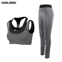 white nylon pants 2019 - MAIJION Women Running Sets Breathable Yoga Bra&Sports Pants Suits,Gym Workout Athletic Sets Quick Dry Elastic Fitness Sp