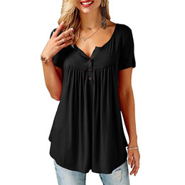 V Neck Button T Shirts NZ - Women T-shirt 2018 Summer Short Sleeve Shirt V Neck Button Tops Tee Casual Solid Loose Top Streetwear Harajuku Shirt Femme Tunic
