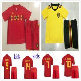 945d2238fbd 2018 Kids Belgium Soccer Jerseys E.HAZARD LUKAKU FELLAINI DE BRUYNE MERTENS  COURTOIS Home Away Red Yellow Men Women Youth Football Shirt Kit