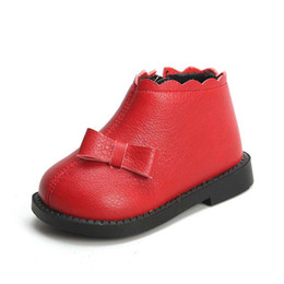 Infant wInter bootIes online shopping - 11 CM Red Genuine Leather Soft Baby Shoes Pure Bowtie Princess Infant Girl Shoes Party Fashion Newborn Baby Booties
