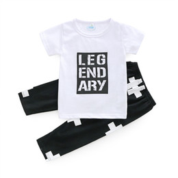 Toddler coTTon TshirTs online shopping - Boys Baby Clothing Sets Letters Cotton Toddler tshirts Pants ins Summer Short Sleeve Infant Tshirts Suits Boutique Clothes Outfits B11
