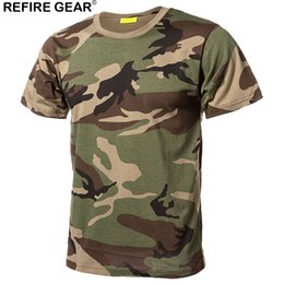 camouflage paintball 2019 - Refire Gear Outdoor Quick Dry T Shirts Men Cotton Camouflage Paintball Hunting Shirts Breathable Tactical Camo T-Shirt c