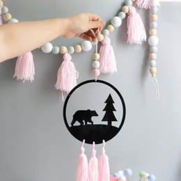 Wooden Wall hangings online shopping - New Design Kids Room Decor Nordic Swan Flamingo Wooden Beads With Tassel Dream Catcher Wall Hanging Toy Kid Birthday Christmas Gift