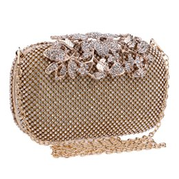 China Flower Crystal Evening Bag Clutch Bags Clutches Wedding Purse Rhinestones Wedding Handbags Silver Gold Black Evening Bag suppliers