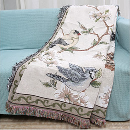 cotton floor mats NZ - Flowers and Birds Cotton Blanket Knitted Multi-function Thread Blanket Beds Couch Floor Mat Tablecloth Decorative Sofa Blankets