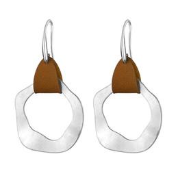 Copper Earrings Australia - Leather Art Deco Irregularity Round Hook Earrings for Women Fashion Jewelry Geometric Copper Metal Silver Statement Earring 2018