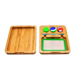 $enCountryForm.capitalKeyWord UK - Newest Wood Storage Box Tray Set Portable Innovative Design Silicone Wax Oil Case Jar Spoon Smoking Tool Magnet Rolling Mat Handroller DHL
