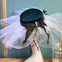 vintage headpieces hats UK - Country Style Exaggerated Bridal Headwear Vintage Hat Photo Studio Headpieces Hats with Lace Ribbon New Bridal Accessories