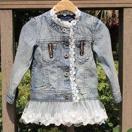 spell clothes 2019 - Denim Coat Kids Girls washed Lace denim jacket children spell Lace Princess denim jacket Outwear hot sell kids Clothing