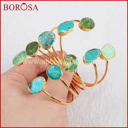 $enCountryForm.capitalKeyWord Australia - whole saleBOROSA Gold Color Natural Blue Stone Druzy Bangles Adjustable Freeform Bangles Double Hand cuff Fashion Jewelry G0235
