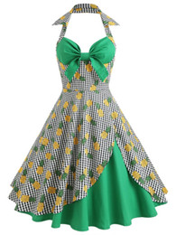 China ZAFUL Pineapple Halter Neck Vintage Hawaiian Dress Women Summer Pin Up Dresses 50s 60s A-Line Dress Midi Vestidos Female 2018 supplier empire pin suppliers