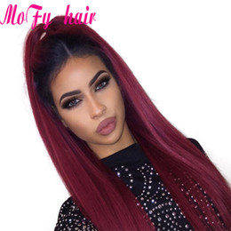 1b Straight Hair Australia - Burgundy Brazilian Straight Hair Ombre Human Hair Weave Bundles Two Tone 1b 99J Hair Weaving 100g pc 3 Bundles Of Straight