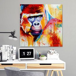 Art Canvas Prints Australia - 1 Piece Modern Animal Painting Colorful Gorilla Wall Pictures For Living Room Pop Art Canvas Prints And Posters No Framed