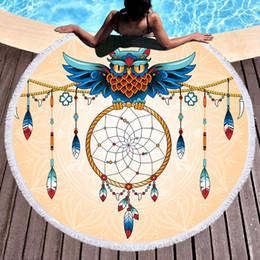 $enCountryForm.capitalKeyWord NZ - Owl Wind bell Beach Towe Bath Towel Thicking Round Printed Microfiber Fabric Towel Tapestry Yoga Mat Blanket 600g YJ58