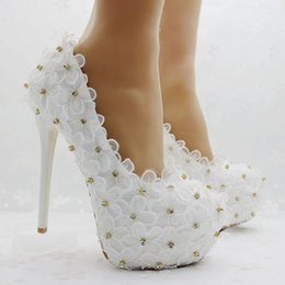 Lace Shoes For Women NZ - New Summer elegant Round toe shoes for women White Lace Flowers high heel wedding shoes high heels Crystal Plus Size Shoes