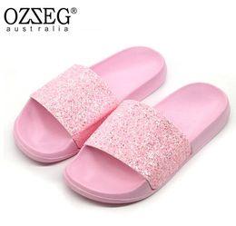 Women s Summer Non-slip Solid Flat Bling Slippers Sequins Designer Flat  Slides Beach Home Slippers Female Sparkling Shoes 64221e86c526
