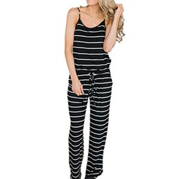 21e8abcf0ca1 Casual White Black Striped Jumpsuits Sexy Spaghetti Strap Loose Playsuits Summer  Women Jumpsuit Wide Leg Pants Overall XXL GV407