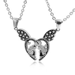Wholesale CHIMDOU Best Friends Forever Heart Wing Kiss Angel Baby Pendant Necklace For Lover Hearts Necklaces BFF Couple Jewelry