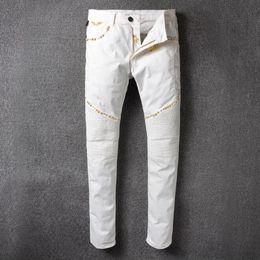 $enCountryForm.capitalKeyWord NZ - Men's clothing fashion Senior designer brand bicycle robin jeans Manual paste crystal golden wings white robin slim jeans