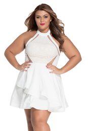 178fd6edb0 Plus Size White Skater Dresses NZ - Fashion Summer Women A Line Sleeveless  White Lace Nude