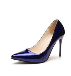 China European station spring and autumn 10CM nude color high-heeled fine with in the patent leather women's shoes red light wedding shoes LEIKUAN cheap light blue high heel pumps suppliers