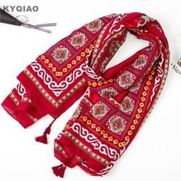 autumn head scarf 2019 - KYQIAO Head scarf for women red hijab scarf 2018 female autumn winter Spain style bohemian long print scarves cape shawl