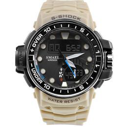 fe7f22c98462 SMAEL Marca Deportes Relojes Hombres Reloj de camuflaje Dual Time Hombres  Ejército LED Reloj de pulsera digital 50M Reloj impermeable para hombres