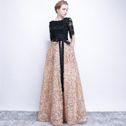 evening women costume 2019 - Patchwork Women Long Evening Gowns Lace Hollow out Sleeve Formal Dress Wedding A-line Floral Banquet Costumes XS-3XL G23