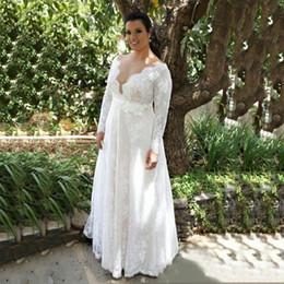 Plunge Wedding Dresses UK - White Lace Plus Size Wedding Dresses Plunging Long Sleeves Bridal Gowns Back Zipper Floor-Length Custom Made Wedding Dresses Simple