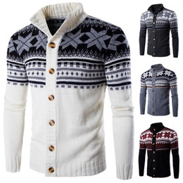 fc49f86021d9e Winter Mens Knitwears Geometric Patterns Stand Collar Knitted Cardigans 4  Colors Slim Fit Mens Knit Jackets