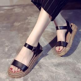 $enCountryForm.capitalKeyWord Australia - 2018 summer Korean version of the new wild open toe word buckle student sandals female summer sponge cake thick-soled shoes