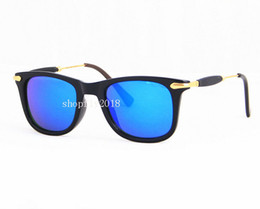 Chinese  1Pair New Arrival Fashion Sunglasses For Men Women Sun Glasses Black Frame 52mm Blue Mirror Glass Lenses With Brown Cases manufacturers