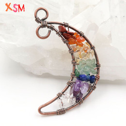 $enCountryForm.capitalKeyWord Australia - xinshangmie Personalized Natural Crystal Crushed Stone 7 Chakra Life Tree Wire Wrap Pendant Women Charm Moon Pendant Jewellery