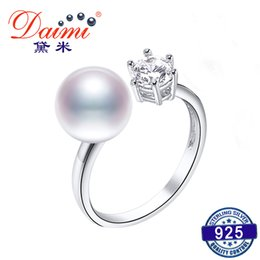 9mm Pearl Size NZ - DAIMI 925 Silver Ring 8-9mm Cultured Pearl Ring Trendy Style Cute Jewelry Y1892704