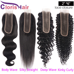 Discount unprocessed human hair piece - Pre Plucked 2x6 Swiss Lace Closure Unprocessed Raw Virgin Indian Silky Straight Human Hair Top Closures Piece Natural Ha