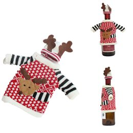 Bottle Hats Australia - MENGXIANG 1 Set Sweater With Hats Red Wine Bottle Cover Bags Santa Claus Dinner Table Decoration Clothes Home Party Decors
