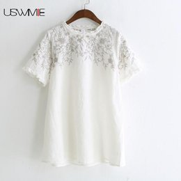 96cfd74242a USWMIE 2018 Summer Women Blouses Retro Literature Simple Embroidery Short  Sleeved O-neck Shirt Solid Color Comfort Linen Tops