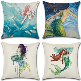 New Embroidered Pillowcases UK - New Pillow Case 4 Styles Pillow Cover Hot Cotton Linen Watercolor Mermaid Hug Pillowcase Cushion Cover