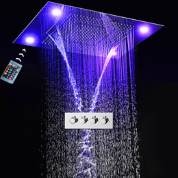 concealed shower set Australia - Concealed Ceiling Mounted Big Rain Waterfall Shower Faucets Set LED remote control   304 SUS Showerhead + high flow shower mxier