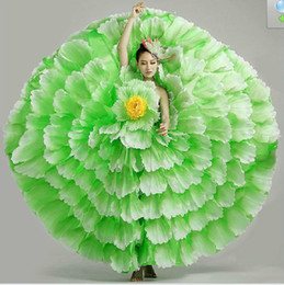 Wholesale stage dresses clubwear for sale – plus size ladies womens yellow pink red blue green full petals flowers big flare dance dress stage performance carnival ball dress
