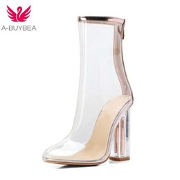 3ec5019f4e2 Women s Transparent PVC Boots Female Clear Summe Ankle Booties Square High  Heels Round Toe Zipper Casual Footwear Ladies Shoes