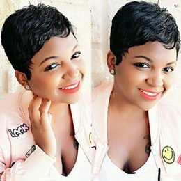 Discount bob cut natural african hair - Brazilian hair Pixie cut short human hair wigs for black women bob full lace front wigs with baby hair for Africans