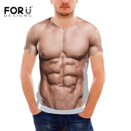 3e1c24a3bc9 FORUDESIGNS Funny 3D Muscle Print T Shirt for Men Designer Crossfit Male  Casual Tee Shirts Summer Style Short Sleeve Men Top Tee