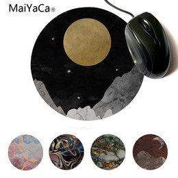 round mouse pads NZ - MaiYaCa New Printed moon and stars small Mouse pad PC Computer mat 200x200mm 220x220mm Round Mouse Pad