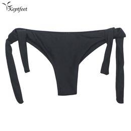 Discount brazilian string thong - 2017 Sexy Solid Thong Swim String Bikini Brazilian Cut Swimwear Women Bottom Adjustable Briefs Swimsuit Panties Underwea